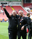 Sheffield United's Paul Mitchell and Chris Wilder celebrate during the League One match at Bramall Lane, Sheffield. Picture date: April 30th, 2017. Pic David Klein/Sportimage