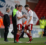 Paul Coutts of Sheffield Utd replaces Ben Whiteman of Sheffield Utd  during the Sky Bet League One match at The Bramall Lane Stadium.  Photo credit should read: Simon Bellis/Sportimage