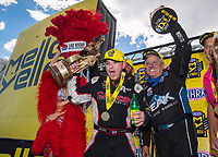 Oct 30, 2016; Las Vegas, NV, USA; NHRA top fuel driver Steve Torrence (left) celebrates with funny car driver John Force after winning the Toyota Nationals at The Strip at Las Vegas Motor Speedway. Mandatory Credit: Mark J. Rebilas-USA TODAY Sports