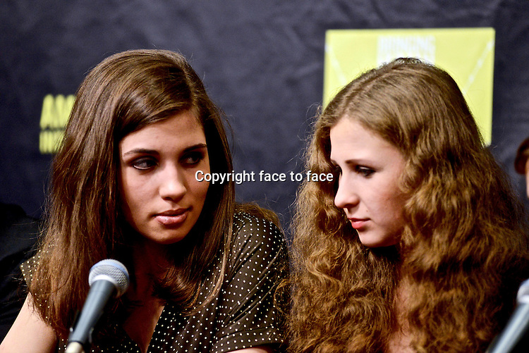 NEW YORK, NY - FEBRUARY 5: Pussy Riot at the Amnesty International: Bringing Home Human Rights Concert press conference at the Barclay's Center in New York City on February 5, 2014. Credit: Robert Altman/MediaPunch<br />