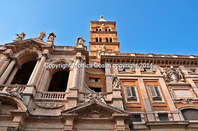 Facade of the 5th century Basilica Papale di Santa Maria Maggiore in Rome, Italy