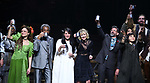 Amber Gray, Andre De Shields, Rachel Clavkin, Anais Mitchell, David Neumann, Eva Noblezada and Timothy Hughes with cast during Broadway Opening Night Performance Curtain Call for 'Hadestown' at the Walter Kerr Theatre on April 17, 2019 in New York City.