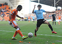 Blackpool's Nathan Delfouneso under pressure from Southend United's Sam Hart<br /> <br /> Photographer Kevin Barnes/CameraSport<br /> <br /> The EFL Sky Bet League One - Blackpool v Southend United - Saturday 9th March 2019 - Bloomfield Road - Blackpool<br /> <br /> World Copyright © 2019 CameraSport. All rights reserved. 43 Linden Ave. Countesthorpe. Leicester. England. LE8 5PG - Tel: +44 (0) 116 277 4147 - admin@camerasport.com - www.camerasport.com