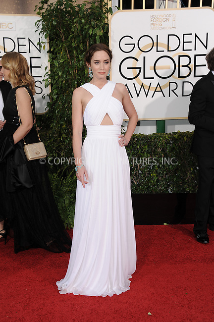 WWW.ACEPIXS.COM<br /> <br /> January 11 2015, LA<br /> <br /> Emily Blunt arriving at the 72nd Annual Golden Globe Awards at The Beverly Hilton Hotel on January 11, 2015 in Beverly Hills, California.<br /> <br /> By Line: Peter West/ACE Pictures<br /> <br /> <br /> ACE Pictures, Inc.<br /> tel: 646 769 0430<br /> Email: info@acepixs.com<br /> www.acepixs.com
