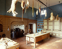 The large country kitchen at Erddig Hall has a variety of game hanging above the scrubbed table with a display of burnished copper pots and pans and the original cooker