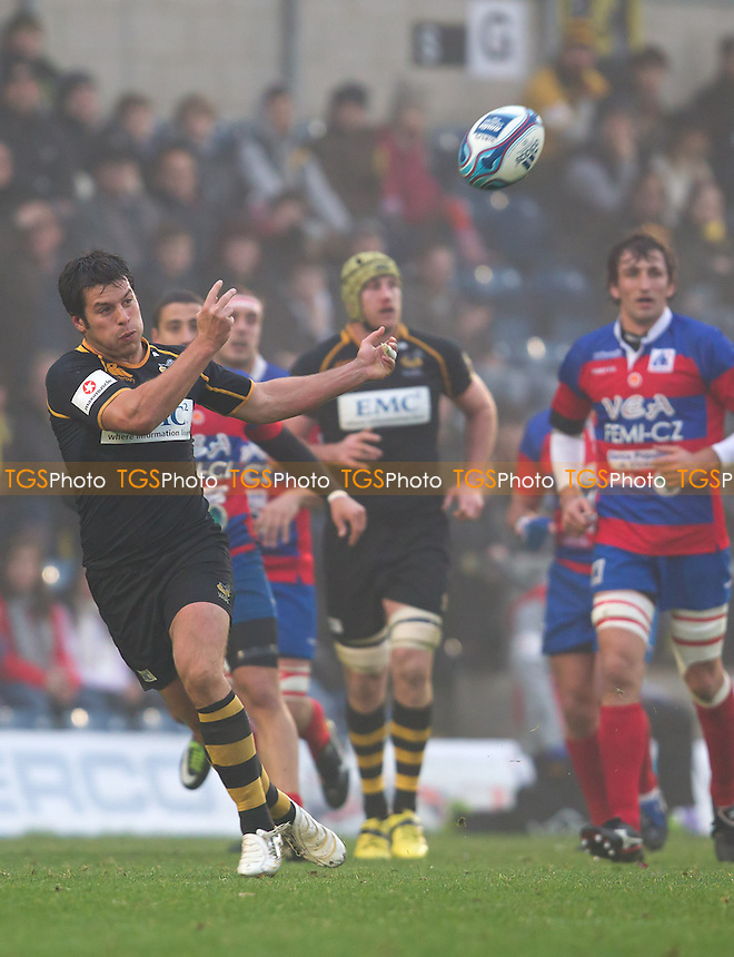 Hat trick hero Hugo Southwell of London Wasps RFC throws the ball long - Wasps RFC vs Femi-CZ VEA Rovigo - Amlin Challenge Cup  Rugby Pool 3 at Adams Park, Wycombe Wanderers FC - 20/11/11 - MANDATORY CREDIT: Ray Lawrence/TGSPHOTO - Self billing applies where appropriate - 0845 094 6026 - contact@tgsphoto.co.uk - NO UNPAID USE.