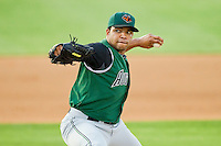 Augusta GreenJackets starting pitcher Edwin Escobar #22 in action against the Kannapolis Intimidators at CMC-Northeast Stadium on May 2, 2012 in Kannapolis, North Carolina.  The GreenJackets defeated the Intimidators 9-6.  (Brian Westerholt/Four Seam Images)