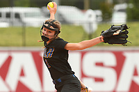 NWA Democrat-Gazette/J.T. WAMPLER North Little Rock's Katelynn McMahon sends in a pitch against Bentonville Friday May 19, 2017 during the 7A State Championship game at Bogle Park in Fayetteville. Bentonville won 11-3.