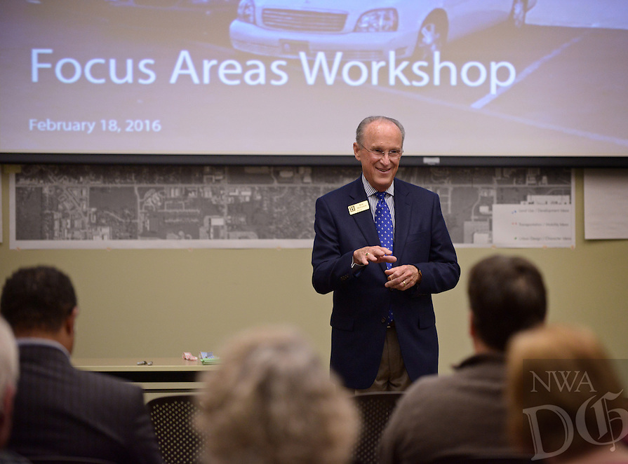 NWA Democrat-Gazette/BEN GOFF @NWABENGOFF<br /> Bentonville Mayor Bob McCaslin speaks on Thursday, Feb. 18, 2016 during a visioning workshop hosted by Houseal Lavigne Associates at the Bentonville Public Library for the community to learn about and comment on Bentonville Community Plan.