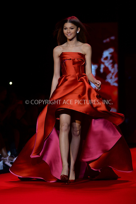 WWW.ACEPIXS.COM<br /> February 12, 2015 New York City<br /> <br /> Zendaya walks the runway at the Go Red For Women Red Dress Collection 2015 presented by Macy's fashion show during Mercedes-Benz Fashion Week Fall 2015 at The Theatre at Lincoln Center on February 12, 2015 in New York City.<br /> <br /> Please byline: Kristin Callahan/AcePictures<br /> <br /> ACEPIXS.COM<br /> <br /> Tel: (646) 769 0430<br /> e-mail: info@acepixs.com<br /> web: http://www.acepixs.com