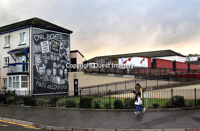 A mural called &quot;Civil Rights&quot; displayed on the side of an apartment complex called the Rossville Flats  in the Bogside, a neighborhood outside the city walls of Derry, Northern Ireland.<br />