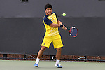 14 May 2016: Michigan's Carter Lin. The Wake Forest University Demon Deacons hosted the University of Michigan Wolverines at the Wake Forest Tennis Center in Winston-Salem, North Carolina in a 2015-16 NCAA Division I Men's Tennis Tournament Second Round match. Wake Forest won the match 4-2.