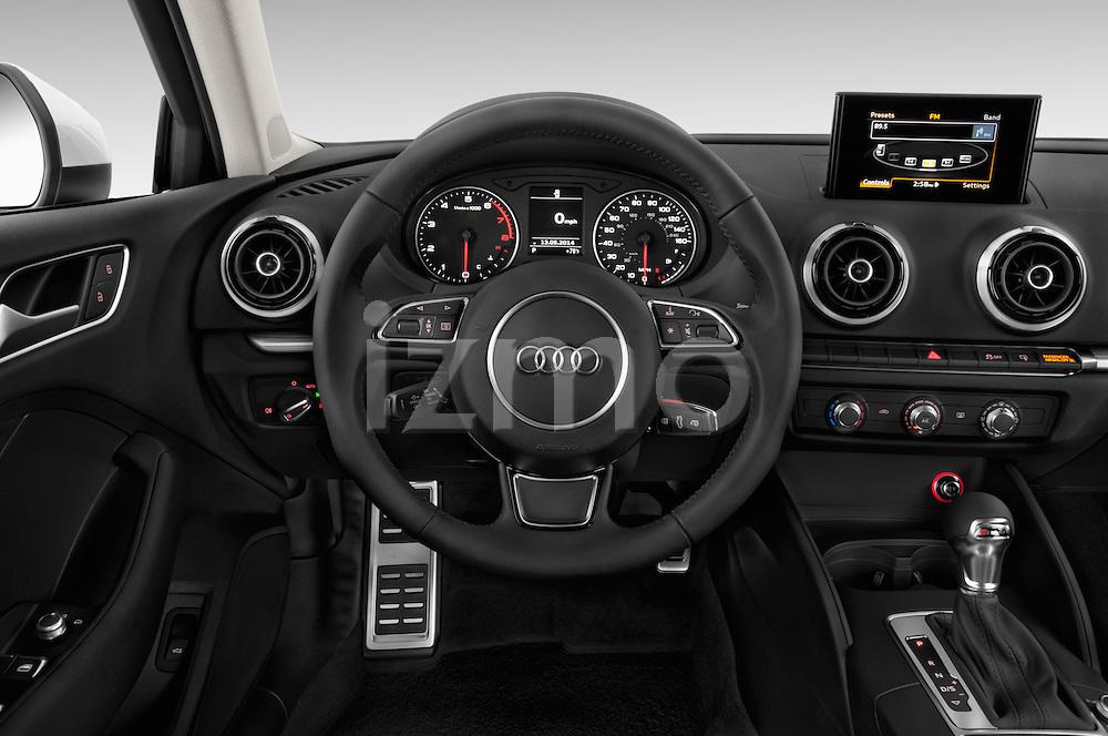 Steering wheel view of a 2015 Audi A3 2.0 T DSG 4 Door Sedan