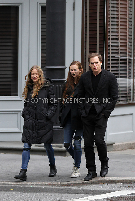 WWW.ACEPIXS.COM<br /> <br /> March 30 2014, New York City<br /> <br /> Michael C Hall and Morgan Macgregor (L) walk in the West Village on March 30 2014 in New York City<br /> <br /> By Line: Zelig Shaul/ACE Pictures<br /> <br /> <br /> ACE Pictures, Inc.<br /> tel: 646 769 0430<br /> Email: info@acepixs.com<br /> www.acepixs.com