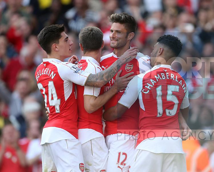 Arsenal's Olivier Giroud celebrates scoring his sides second goal<br /> <br /> Barclays Premier League- Arsenal vs Stoke City - Emirates Stadium - England - 12th September 2015 - Picture David Klein/Sportimage