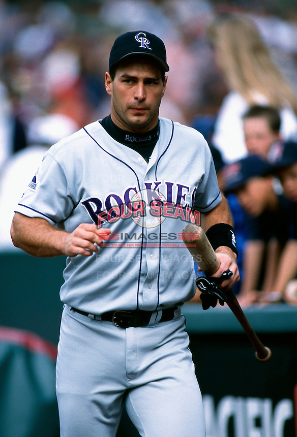 Greg Colbrun of the Colorado Rockies plays in a baseball game at Edison International Field during the 1998 season in Anaheim, California. (Larry Goren/Four Seam Images)