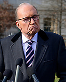 Director of the National Economic Council Larry Kudlow speaks to reporters on the North Driveway of the White House in Washington, DC on Friday, December 6, 2019.  Kudlow took questions on the economic numbers released today and the status of the trade negotiations with China.<br /> Credit: Ron Sachs / CNP