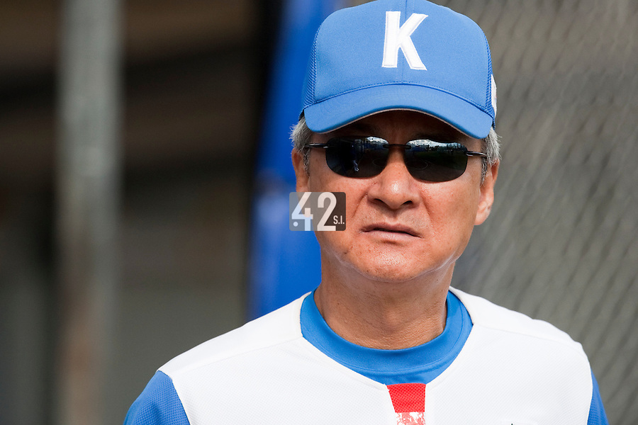 14 September 2009: Coach Bo-Sung Chun of South Korea is seen during the 2009 Baseball World Cup Group F second round match game won 15-5 by South Korea over Great Britain, in the Dutch city of Amsterdan, Netherlands.