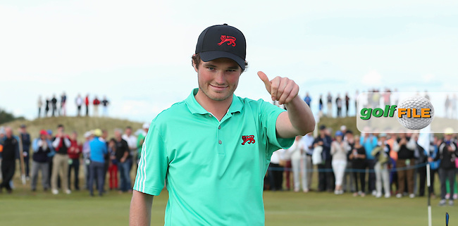 Cormac Sharvin (NIR) wins his match 4&amp;3 during Sunday afternoon Singles matches of The Walker Cup 2015 played at Royal Lytham and St Anne's, Lytham St Anne's, Lancashire, England. 13/09/2015. Picture: Golffile | David Lloyd<br /> <br /> All photos usage must carry mandatory copyright credit (&copy; Golffile | David Lloyd)