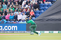 Soumya Sarkar (Bangladesh) prepares to take the catch to dismiss Eoin Morgan (England) during England vs Bangladesh, ICC World Cup Cricket at Sophia Gardens Cardiff on 8th June 2019