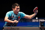 Xu Xin of China vs Fan Zhendong of China at their Men's Singles Semi Final match during the Seamaster Qatar 2016 ITTF World Tour Grand Finals at the Ali Bin Hamad Al Attiya Arena on 10 December 2016, in Doha, Qatar. Photo by Victor Fraile / Power Sport Images