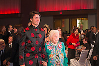 Canadian Prime Minister Justin Trudeau and former Mississauga mayor Hazel McCallion (right) attend the 27th Annual Dragon Ball Gala in celebration of the Chinese New Year,<br />  February 6, 2016.<br /> <br /> PHOTO : J. Adam Huggins - Agence Quebec Presse