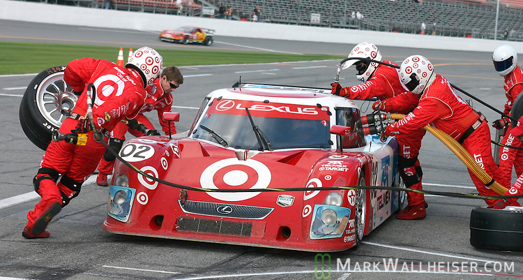 The 02 Lexus Riley Target car makes their first pit stop in the Rolex 24 at Daytona at Daytona International Speedway in Daytona, Florida Saturday January 27, 2007.  (Mark Wallheiser/TallahasseeStock.com)
