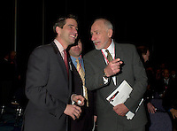 March 19 2003, Montreal, Quebec, Canada<br /> <br />   Andre Boisclair, Quebec's Environment Minister(L) and Martin Dusseault, President of Reseau Environement (M)and<br /> David Anderson,Canada's  Environment Minister, (R )jokes while arriving for  the  opening plenary session of Americana, a 3 days conference and  trade show on environment and waste management organized by Reseau Environnement, March 19, 2003 in Montreal, Canada.<br /> <br /> Mandatory Credit: Photo by Pierre Roussel- Images Distribution. (&copy;) Copyright 2003 by Pierre Roussel <br /> <br /> NOTE : <br />  Nikon D-1 jpeg opened with Qimage icc profile, saved in Adobe 1998 RGB<br /> .Uncompressed  Original  size  file availble on request.