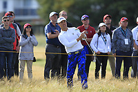 Isaiah Salinda (USA) on the 18th during Day 2 Singles at the Walker Cup, Royal Liverpool Golf CLub, Hoylake, Cheshire, England. 08/09/2019.<br /> Picture Thos Caffrey / Golffile.ie<br /> <br /> All photo usage must carry mandatory copyright credit (© Golffile | Thos Caffrey)