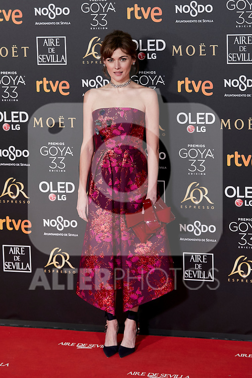 Marta Nieto attends to 33rd Goya Awards at Fibes - Conference and Exhibition  in Seville, Spain. February 02, 2019. (ALTERPHOTOS/A. Perez Meca)