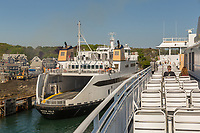 A view from a Steamship Authority ferry as it leaves the ferry terminal in Woods Hole, Massachusetts headed for Martha's Vineyard.