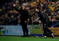 Lincoln City manager Danny Cowley, right, and Mansfield Town manager David Flitcroft<br /> <br /> Photographer Chris Vaughan/CameraSport<br /> <br /> The EFL Sky Bet League Two - Mansfield Town v Lincoln City - Monday 18th March 2019 - Field Mill - Mansfield<br /> <br /> World Copyright © 2019 CameraSport. All rights reserved. 43 Linden Ave. Countesthorpe. Leicester. England. LE8 5PG - Tel: +44 (0) 116 277 4147 - admin@camerasport.com - www.camerasport.com