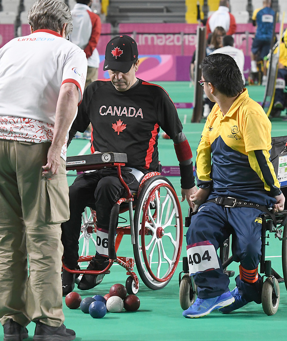 Marco Dispaltro competes in  Boccia at the 2019 ParaPan American Games in Lima, Peru-1aug2019-Photo Scott Grant