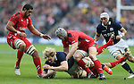 Richie Gray of Scotland tackled by Jonathan Davies of Wales - RBS 6Nations 2015 - Scotland  vs Wales - BT Murrayfield Stadium - Edinburgh - Scotland - 15th February 2015 - Picture Simon Bellis/Sportimage