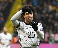 19th November 2019, Frankfurt, Germany; 2020 European Championships qualification, Germany versus Northern Ireland;  Serge Gnabry Germany celebrates after scoring his goal for 1-1