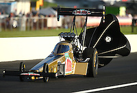 Sep 3, 2016; Clermont, IN, USA; Body panels fly off the dragster of NHRA top fuel driver Leah Pritchett during qualifying for the US Nationals at Lucas Oil Raceway. Mandatory Credit: Mark J. Rebilas-USA TODAY Sports