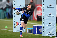 Will Chudley of Bath Rugby in action during the pre-match warm-up. Gallagher Premiership match, between Bath Rugby and Harlequins on March 2, 2019 at the Recreation Ground in Bath, England. Photo by: Patrick Khachfe / Onside Images