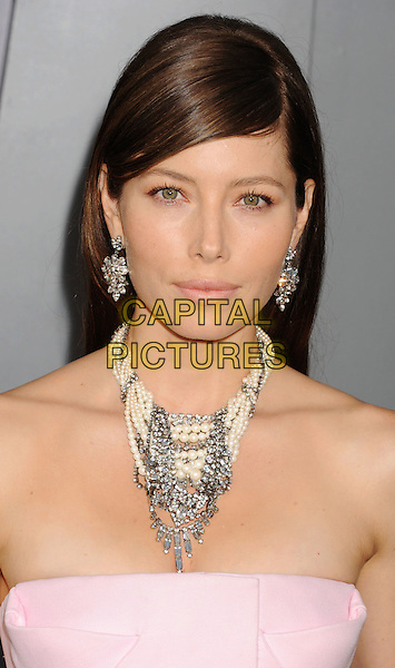"Jessica Biel.""Total Recall"" Los Angeles Premiere held at Grauman's Chinese Theatre, Hollywood, California, USA..August 1st, 2012.headshot portrait pink strapless white silver necklace pearls earrings .CAP/ROT/TM.©Tony Michaels/Roth Stock/Capital Pictures"