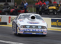 May 10, 2013; Commerce, GA, USA: NHRA pro stock driver Larry Morgan gets sideways and up on two wheels during qualifying for the Southern Nationals at Atlanta Dragway. Mandatory Credit: Mark J. Rebilas-