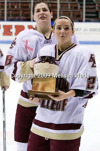 Meghan Fardelmann (Boston College - 18), Lauren Wiedmeier (Boston College - 27) - The Boston College Eagles defeated the Harvard University Crimson 1-0 to win the Beanpot on Tuesday, February 10, 2009, at Matthews Arena in Boston, Massachusetts.