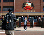 Portsmouth fans taking pictures outside The Stadium of Light. Sunderland 2 Portsmouth 1, 17/08/2019. Stadium of Light, League One. Photo by Paul Thompson.