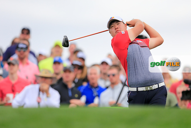 Sungjae Im (KOR) on the 11th tee green during the 3rd round of the Waste Management Phoenix Open, TPC Scottsdale, Scottsdale, Arisona, USA. 02/02/2019.<br /> Picture Fran Caffrey / Golffile.ie<br /> <br /> All photo usage must carry mandatory copyright credit (&copy; Golffile | Fran Caffrey)