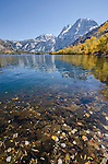 Carson Peak and Silver Lake lined with autumn aspen and cottonwood, fall, Inyo National Forest, California