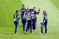 PICTURE BY ALEX WHITEHEAD/SWPIX.COM - Cricket - FriendLife T20 - Yorkshire v Lancashire - Headingley, Leeds, England - 29/06/12 - Yorkshire players celebrates the wicket of Lancashire's Karl Brown.