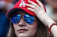 Aficionada de los Dodgers con lentes de sol. Sunglases<br /> Acciones del partido de beisbol, Dodgers de Los Angeles contra Padres de San Diego, tercer juego de la Serie en Mexico de las Ligas Mayores del Beisbol, realizado en el estadio de los Sultanes de Monterrey, Mexico el domingo 6 de Mayo 2018.<br /> (Photo: Luis Gutierrez)