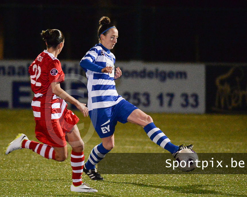 20140221 - OOSTAKKER , BELGIUM : Gent Lidewei De Waele (r) pictured during the soccer match between the women teams of AA Gent Ladies  and RAFC Antwerp Ladies , on the 19th matchday of the BeNeleague competition Friday 21 February 2014 in Oostakker. PHOTO DAVID CATRY