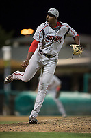Lake Elsinore Storm relief pitcher Dauris Valdez (32) follows through on his delivery during a California League game against the Modesto Nuts at John Thurman Field on May 12, 2018 in Modesto, California. Lake Elsinore defeated Modesto 4-1. (Zachary Lucy/Four Seam Images)