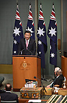 CANBERRA, AUSTRALIA -  Chinese President Xi Jinping addresses the Parliament of Australia in Canberra on November 17, 2014. AFP PHOTO / MARK GRAHAM