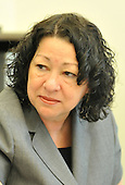 United States President Barack Obama's nominee to be Associate Justice of the Supreme Court of the United States Sonia Sotomayor is seen in a meeting with White House council in the Eisenhower Executive Office Building in Washington on June 1, 2009. <br /> Credit: Kevin Dietsch / Pool via CNP