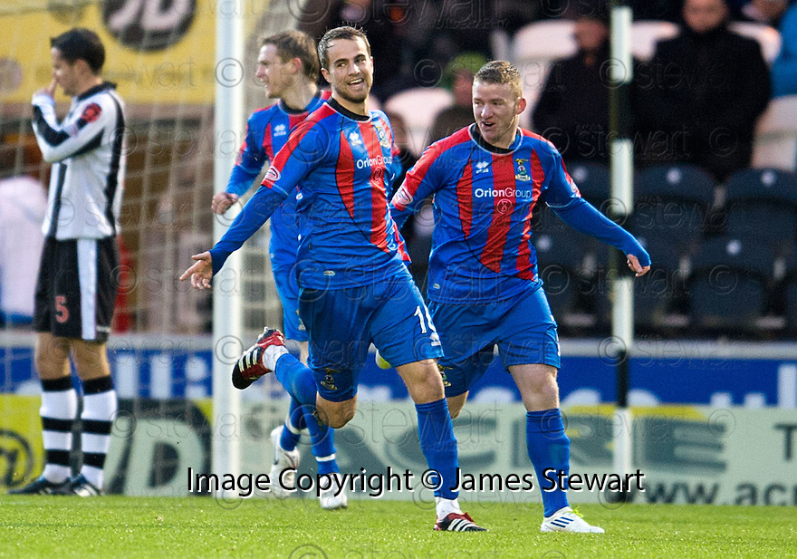 CALEY'S ANDREW SHINNIE CELEBRATES AFTER HE SCORES INVERNESS' FIRST GOAL..03/12/2011   Copyright  Pic : James Stewart.sct_jsp004_st_mirren_v_ict  .James Stewart Photography 19 Carronlea Drive, Falkirk. FK2 8DN      Vat Reg No. 607 6932 25.Telephone      : +44 (0)1324 570291 .Mobile              : +44 (0)7721 416997.E-mail  :  jim@jspa.co.uk.If you require further information then contact Jim Stewart on any of the numbers above.........